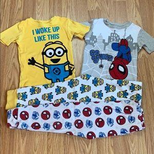 Minion and Spider-Man PJ pajama sets 4T like new!